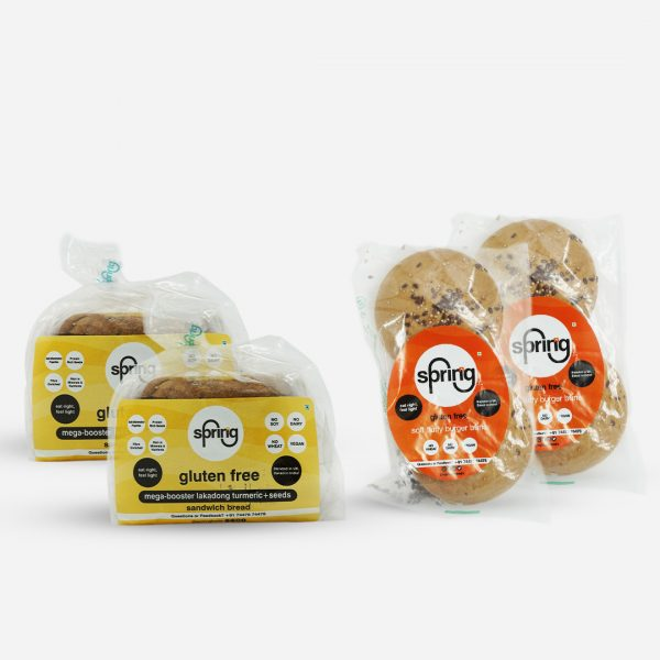 Combo 4 - 2 Bread + 2 Pack of Burger Buns - gluten free products | Sprinng